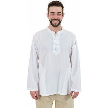 Vêtements Homme Chemises manches longues Fantazia Chemise ethnic asia col mao boutons coton blanc milk Dudha Blanc / écru