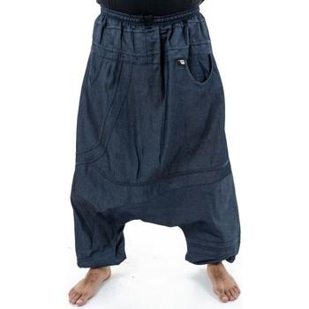 Vêtements Homme Pantalons fluides / Sarouels Fantazia Sarouel large grande taille jean homme Bigjean Bleu