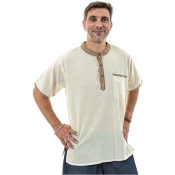 Vêtements Homme Chemises manches longues Fantazia Chemisette ethnique coton ecru Malisah Blanc / écru