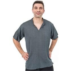 Vêtements Homme Chemises manches longues Fantazia Chemisette col mao ethnique zen Bleu