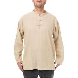 Vêtements Homme Chemises manches longues Fantazia Chemise col mao homme chanvre Blanc / écru