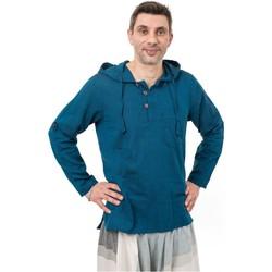 Vêtements Homme Chemises manches longues Fantazia Chemise baroudeur ethnique capuche Joaoh Bleu