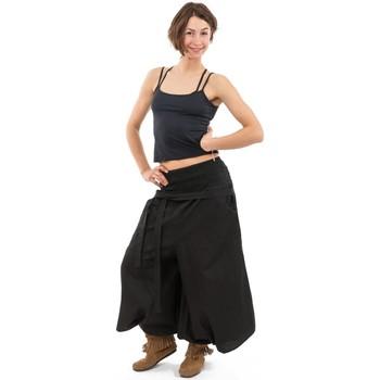 Vêtements Pantalons fluides / Sarouels Fantazia Pantalon sarouel femme style jupe noire Noir