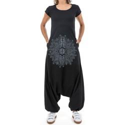 Vêtements Femme Combinaisons / Salopettes Fantazia Combi sarouel noir mandala Javea Noir