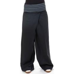 Vêtements Femme Pantalons fluides / Sarouels Fantazia Pantalon thai fisherman noir gris Noir