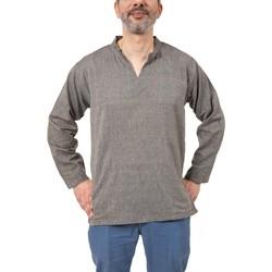 Vêtements Homme Chemises manches longues Fantazia Chemise tunique col mao V homme vert fonce