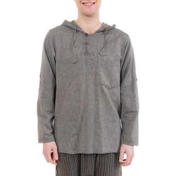 Vêtements Homme Chemises manches longues Fantazia Chemise ethnique transformable capuche Paoh Marron