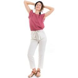 Vêtements Pantalons Fantazia Pantalon carotte casual zen ecru Blanc / écru