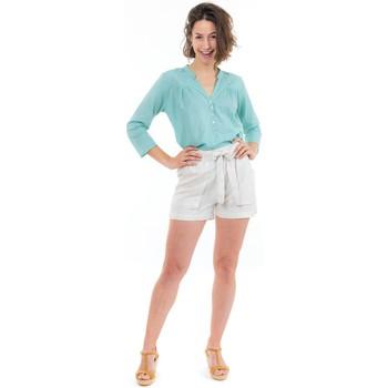 Vêtements Femme Pantacourts Fantazia Short femme noeud natural Hyna Blanc / écru