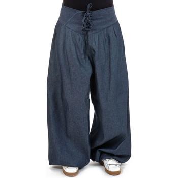 Vêtements Femme Pantalons fluides / Sarouels Fantazia Pantalon aladin jean ceinture corset femme Bleu