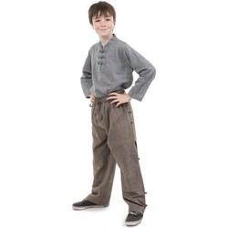 Vêtements Enfant Pantalons fluides / Sarouels Fantazia Pantalon large japonais enfant zen Marron