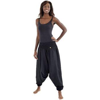 Vêtements Femme Pantalons fluides / Sarouels Fantazia Pantalon sarouel elastique uni aladin sarwel indien Noir