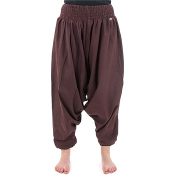 Vêtements Homme Pantalons fluides / Sarouels Fantazia Pantalon sarouel elastique uni aladin sarwel indien Chocolat