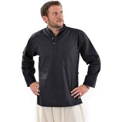 Vêtements Homme Chemises manches longues Fantazia Chemise 3 boutons mao coton epais Noir