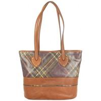 Sacs Femme Cabas / Sacs shopping Patrick Blanc Sac cabas  cuir motif écossais marron Marron