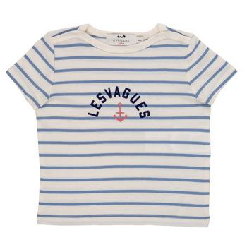 Vêtements Garçon T-shirts manches courtes Cyrillus  ENOS Bleu / Blanc