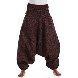 Vêtements Femme Pantalons fluides / Sarouels Fantazia Pantalon sarwel femme smocke spirale ethnique chic Noir