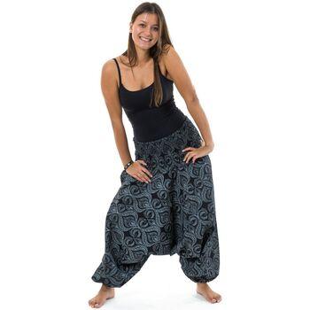 Vêtements Femme Pantalons fluides / Sarouels Fantazia Sarouel femme ethnique chic coton epais Pankha Noir