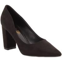 Chaussures Femme Escarpins Primtex Escarpins  pointus talons carré bloc épais simili daim Noir