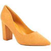 Chaussures Femme Escarpins Primtex Escarpins  pointus talons carré bloc épais simili daim Moutarde