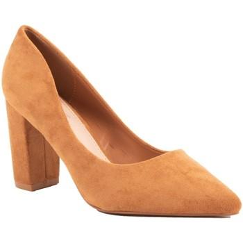 Chaussures Femme Escarpins Primtex Escarpins  pointus talons carré bloc épais simili daim Camel
