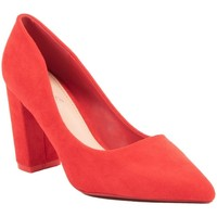 Chaussures Femme Escarpins Primtex Escarpins  pointus talons carré bloc épais simili daim Rouge