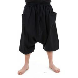Vêtements Homme Pantalons fluides / Sarouels Fantazia Saroual pantacourt bermuda homme coton leger noir uni Adhara Noir