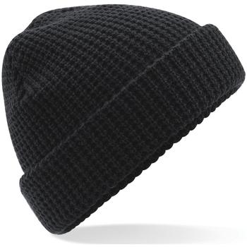 Accessoires textile Bonnets Beechfield Waffle Knit Noir