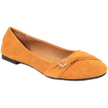 Chaussures Femme Ballerines / babies Primtex Ballerines  grande pointure en simili daim boucle strass dorée Moutarde