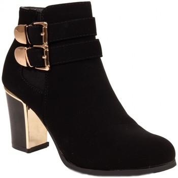 Chaussures Femme Bottines Primtex Bottines  talon doré en suédine noir boucles petit talon bloc Noir