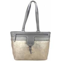 Sacs Femme Cabas / Sacs shopping Mac Alyster Sac trapèze  Idole motif fleur gris métallisé Gris