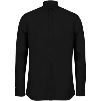 Vêtements Homme Chemises manches longues Henbury Oxford Noir