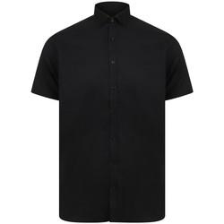 Vêtements Homme Chemises manches courtes Henbury Oxford Noir