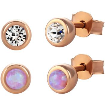 Montres & Bijoux Femme Boucles d'oreilles Mademoiselle Jolie Paris LA SEINE en Cristal Swarovski et Opale (4 pieces) Opal Rose