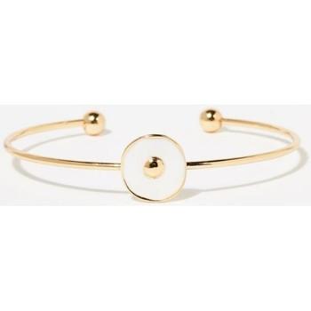 Montres & Bijoux Femme Bracelets Mes-Bijoux.fr Jonc Bohème doré et émail blanc Doré