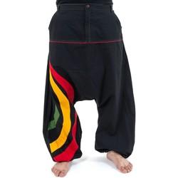 Vêtements Homme Pantalons fluides / Sarouels Fantazia Sarouel grande taille homme arc en ciel tricolore reggae Noir