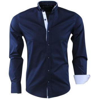 Vêtements Homme Chemises manches longues Carisma Chemise homme col officier Chemise C-8386 bleu marine Bleu