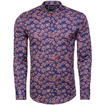 Vêtements Homme Chemises manches longues Carisma Chemise fleurie pour homme Chemise 8458 bleu Bleu