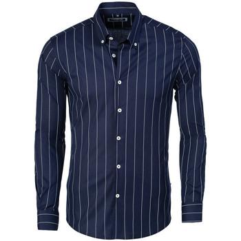 Vêtements Homme Chemises manches longues Carisma Chemise à rayures homme Chemise 8440 bleu Bleu