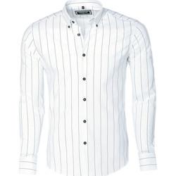 Vêtements Homme Chemises manches longues Carisma Chemise homme à rayures Chemise 8440 blanc Blanc