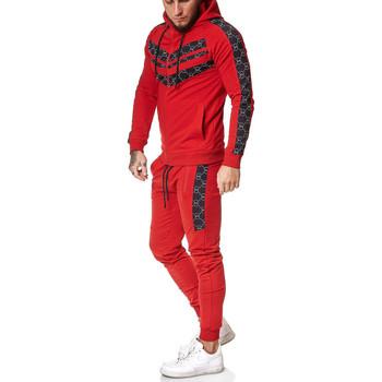 Vêtements Homme Ensembles de survêtement Monsieurmode Ensemble jogging homme Survêt 13108 rouge Rouge