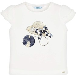 Vêtements Fille T-shirts manches courtes Mayoral Kids Camiseta m/c volante manga Crd-marino beige