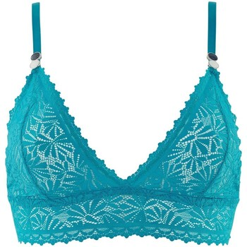 Sous-vêtements Femme Triangles / Sans armatures Pommpoire Soutien-gorge triangle sans armatures turquoise Check-In Bleu
