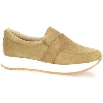 Chaussures Femme Slip ons So Send Baskets cuir velours Camel