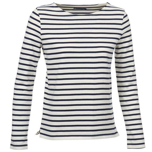 Vêtements Femme T-shirts manches longues Petit Bateau SYMBOLE Ecru / Marine