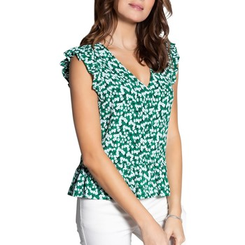 Vêtements Femme Tops / Blouses Deeluxe Blouse CREAM Green Flower