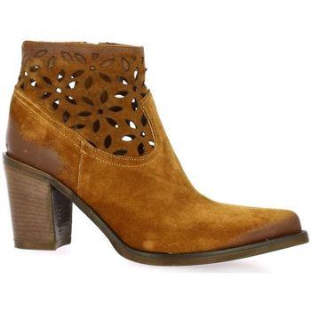 Chaussures Femme Bottines Emanuele Crasto Boots cuir velours Cognac