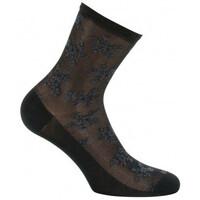 Accessoires textile Femme Chaussettes Kindy Socquettes fleurs sur dentelle en Fil d'écosse Noir
