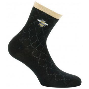 Accessoires textile Femme Chaussettes Kindy Socquettes avec broderie abeille en coton Noir
