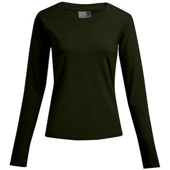 Vêtements Femme T-shirts manches longues Promodoro T-shirt manches longues bien-être Femmes promotion kaki